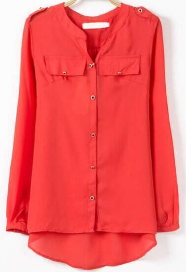 Red V Neck Long Sleeve Buttons Dipped Hem Blouse
