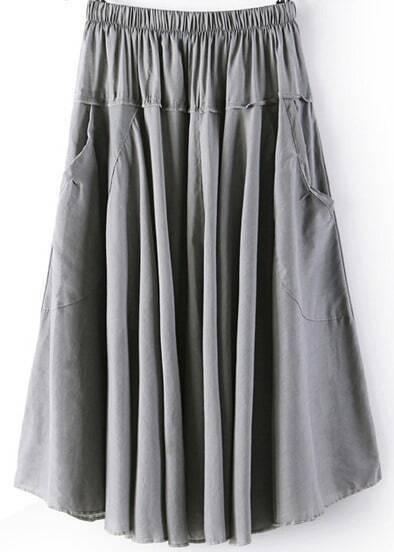 Grey Elastic Waist Pleated Pockets Skirt