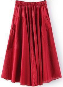 Red Elastic Waist Pleated Pockets Skirt