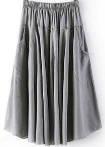 Grey Elastic Waist Pleated Pockets Skirt