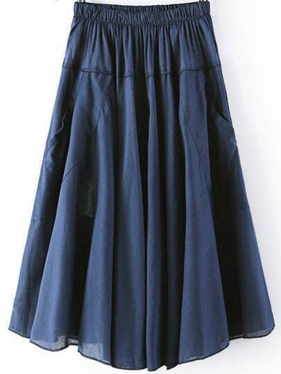Navy Elastic Waist Pleated Pockets Skirt