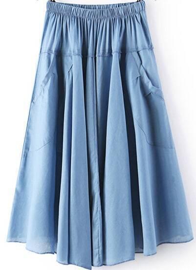 Blue Elastic Waist Pleated Pockets Skirt
