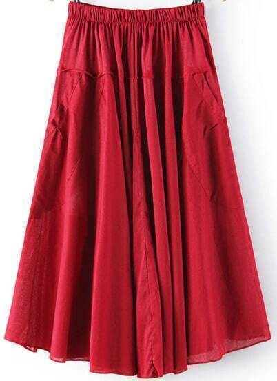 Red Elastic Waist Pleated Pockets Skirt