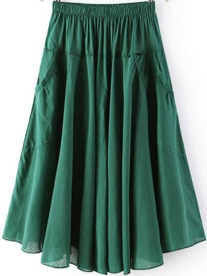 Green Elastic Waist Pleated Pockets Skirt