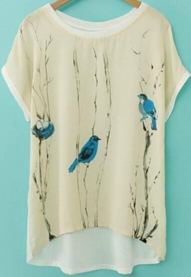 Beige Short Sleeve Birds Print Chiffon T-Shirt