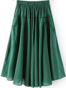 Green Elastic Waist Pleated Pockets Skirt
