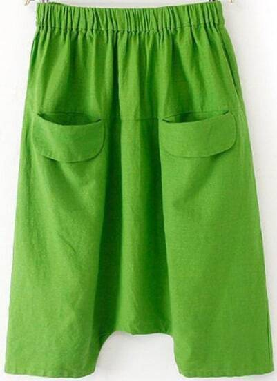 Green Elastic Waist Pockets Loose Pant