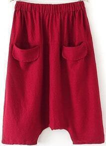 Red Elastic Waist Pockets Loose Pant