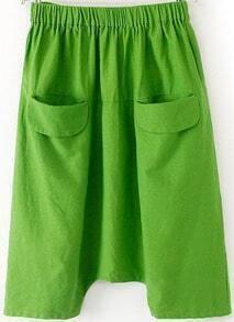 Green Elastic Waist Pockets Loose Pant