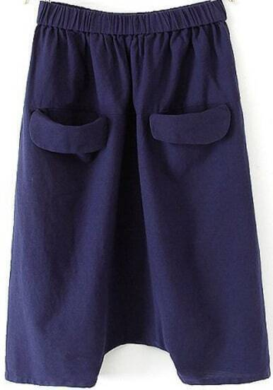 Blue Elastic Waist Pockets Loose Pant
