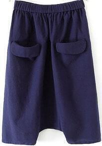 Blue Elastic Waist Pockets Loose Pant