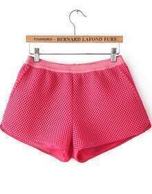 Red Elastic Waist Hollow Net Shorts