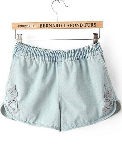 Light Blue Elastic Waist Embroidered Denim Shorts
