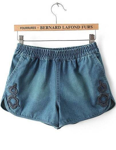 Navy Elastic Waist Embroidered Denim Shorts