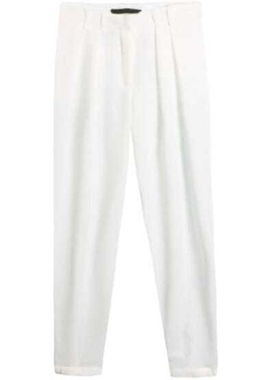 White Pockets Loose Crop Pant