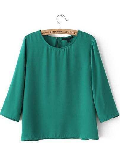 Green Round Neck Half Sleeve Loose Blouse