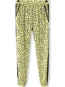 Green Elastic Waist Leopard Pockets Pant