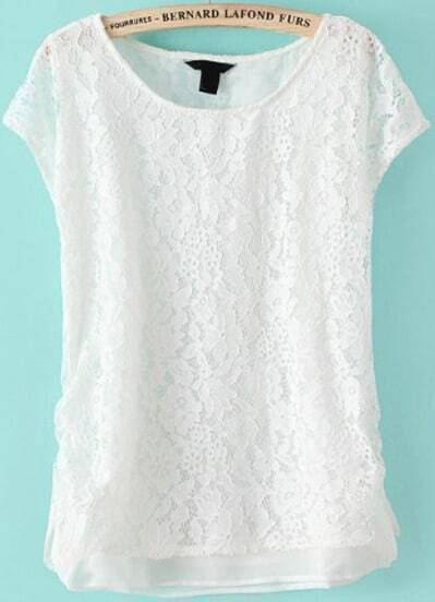 White Short Sleeve Embroidered Lace Two Pieces Blouse