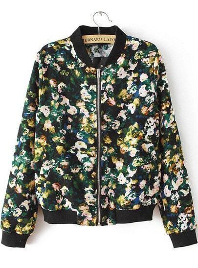 Black Long Sleeve Vintage Floral Zipper Jacket
