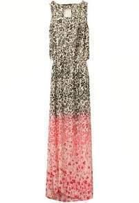 Pink Sleeveless Leopard Print Split Dress