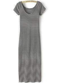 Black White Short Striped Sleeve Slim Dress