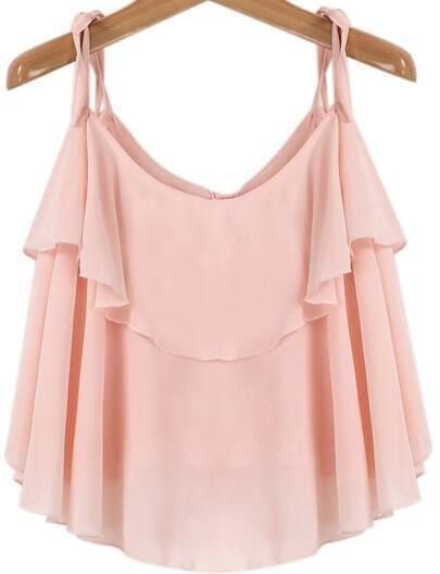 Pink Spaghetti Strap Ruffle Chiffon Vest