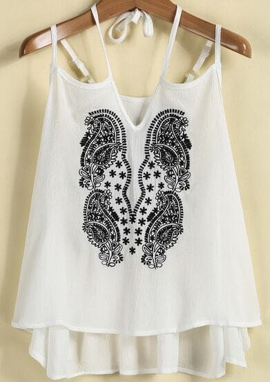 White Spaghetti Strap Embroidered Loose Vest