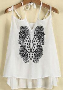 White Spaghetti Strap Embroidered Loose Vest