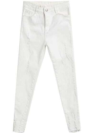 White Ripped Denim Pencil Pant