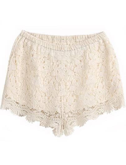 Apricot Elastic Waist Floral Crochet Shorts