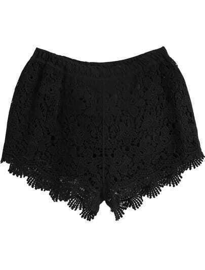 Black Elastic Waist Floral Crochet Shorts