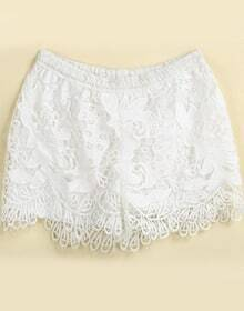 White Floral Crochet Hollow Shorts