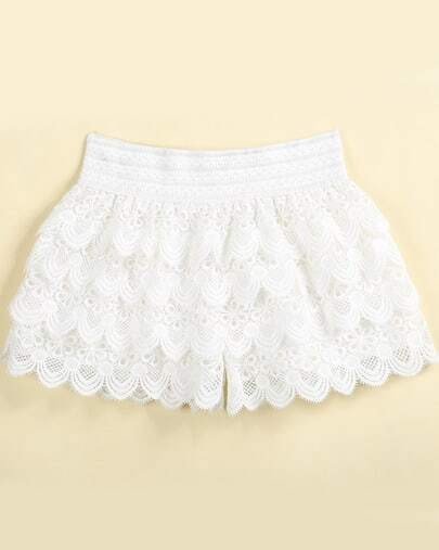 White Elastic Waist Zigzag Hollow Shorts