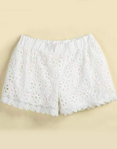 White Hollow Circle Floral Crochet Shorts