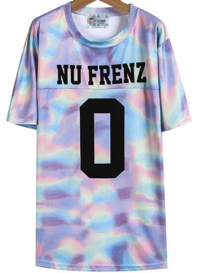 Purple Short Sleeve NU FRENZ 0 Print T-Shirt