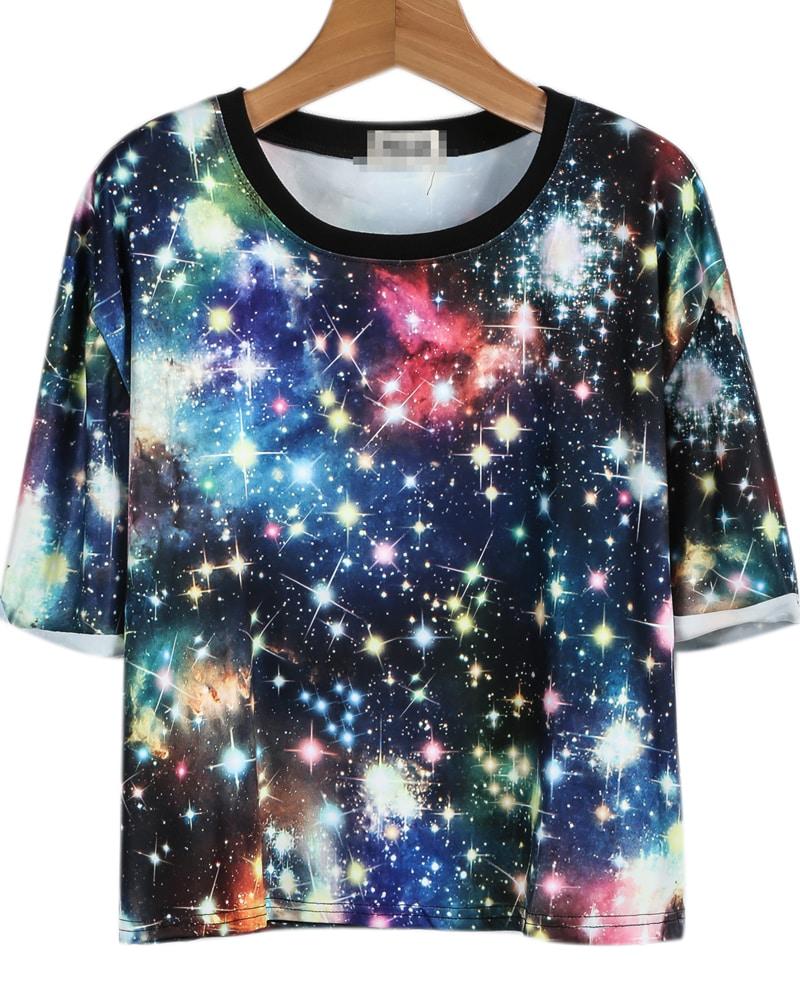 blue short sleeve galaxy print t shirt shein sheinside