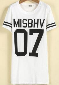 White Short Sleeve MISBHV 07 Print T-Shirt
