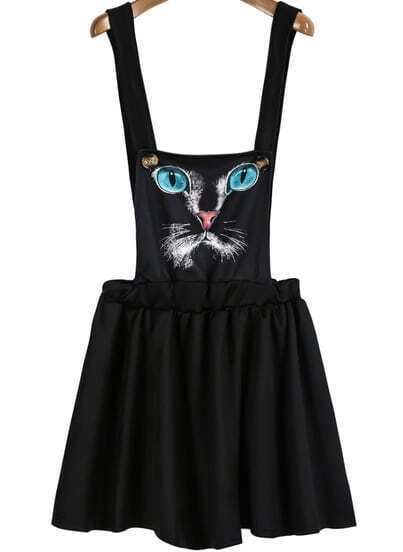Black Strap Cat Print Pleated Pinafore Dress