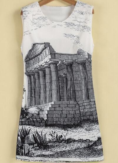 White Sleeveless Vintage Building Print Dress