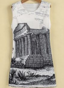 White Sleeveless Vintage Building Print Dress