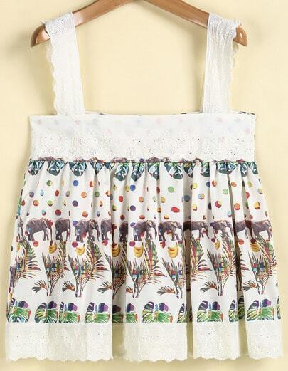 White Strap Floral Pleated Skirt