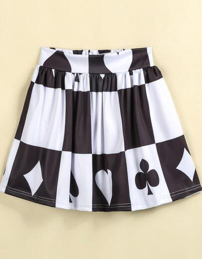 Black White Plaid Poker Print Skirt