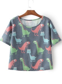 Grey Short Sleeve Cartoon Dinosaur Irresistible Ugly Print T-Shirt