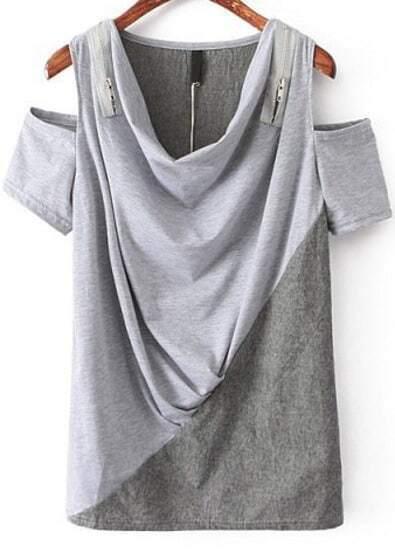 Grey Off the Shoulder Loose T-Shirt