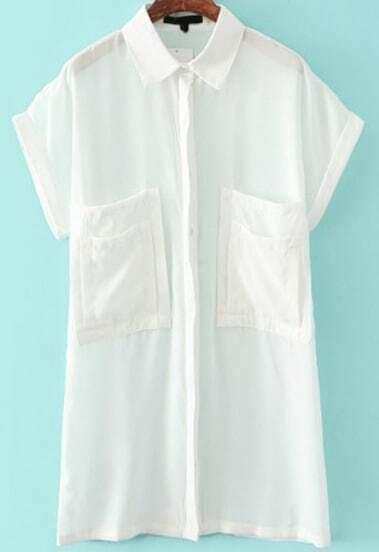 White Lapel Short Sleeve Pockets Blouse