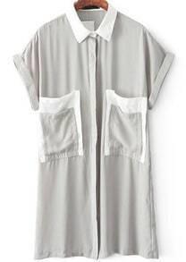 Grey Lapel Short Sleeve Pockets Blouse