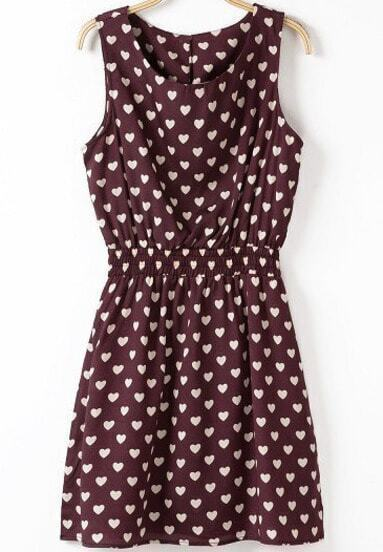 Wine Red Sleeveless Hearts Print Dress