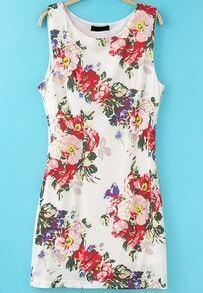 White Sleeveless Floral Slim Bodycon Dress