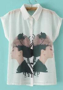 White Short Sleeve Beauty Print Blouse