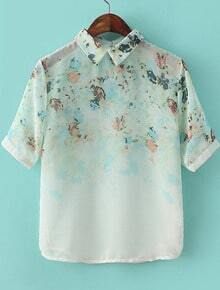 White Lapel Short Sleeve Green Floral Chiffon Blouse